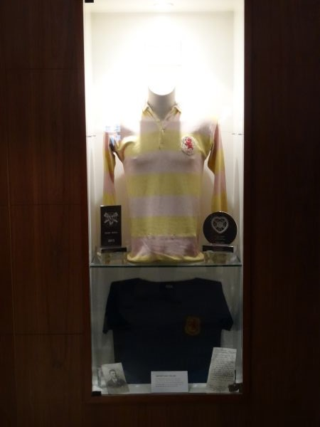 Two Scotland shirts from his playings days. The one above has the Rosebery colours